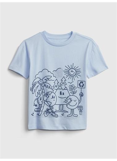 Gap Grafik Desenli T-Shirt Mavi